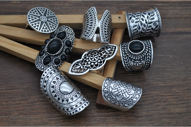 Yumfeel New Bohemia Vintage Boho Jewelry Rings Mixed Lot Tibetan Silver Plated Ring 8pcs/Lot Bohemian Ring Women Vintage Jewelry