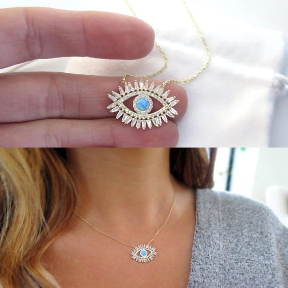 Lucky Evil Eye Cubic Zirconia Baguette Necklace - 3 Colors