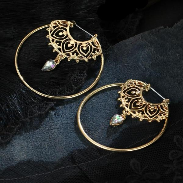 Henna Pattern Hoop Earrings with Dangling Crystal