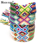 MOON GIRL Fashion Hand Weave Bohemian Geneva Charms Bracelet Vintage Boho Adjustable Cotton Rope Bracelet for Women Dropship