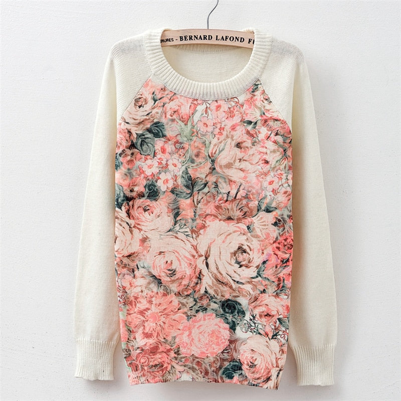 Sweater fashion 2018 women's rose printing fashion warm new Sweater Long Sleeve Stretch Pure Sweater Top  Fall Winter Pullove