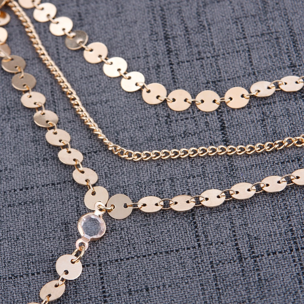 Multilayer Sequins & Rhinestones Chain Necklace