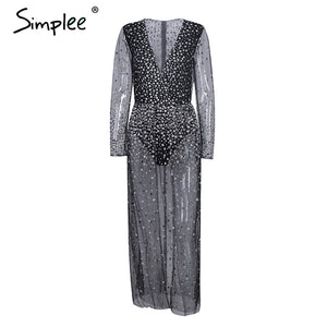 Simplee V neck black dress women Sexy transparent mesh christmas party dresses vestidos High side split sequins long dress