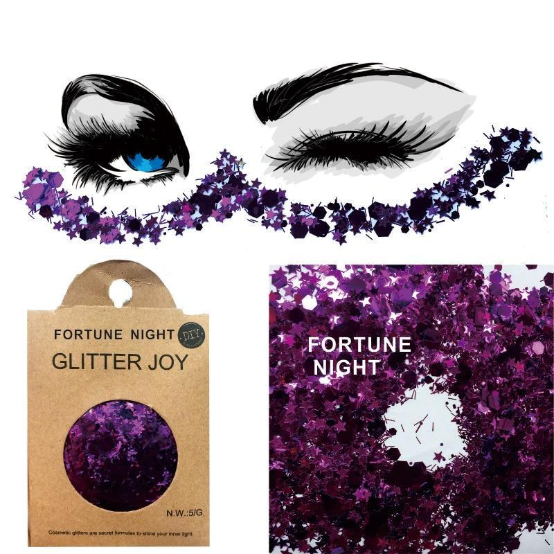 "Festival Glitter - ""Fortune Night"" - Purple Stars & Mixed Shapes"