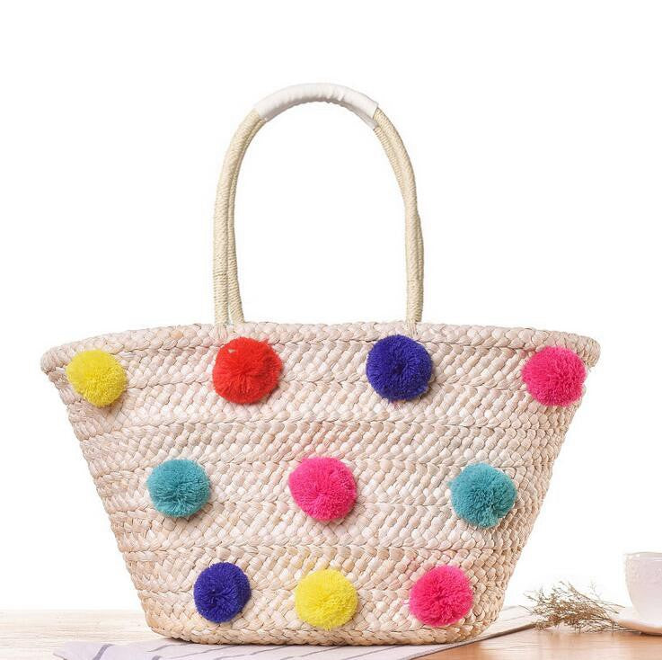 Colorful Pom Pom Woven Straw Tote Bag - 2 Styles
