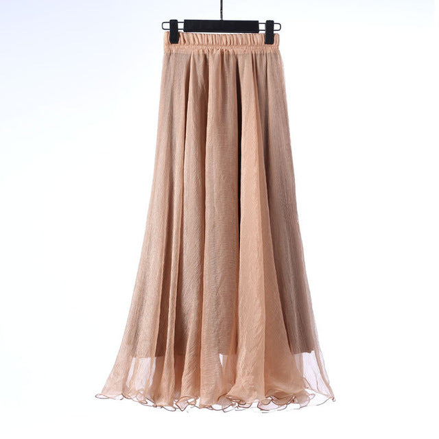 Ruffly Edged Flowy Chiffon Maxi Skirt - 18 Colors