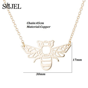 SMJEL Wild Animal Origami Gold Bee Pendant Necklace & Pendants Party Honey Bee Accessories Everyday Jewelry Ketting Gift