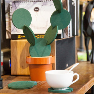 1 Set Combination Type Coaster Tableware Mats Cactus DIY Nonslip Heat Insulation Mat For Drink Holder Coffee