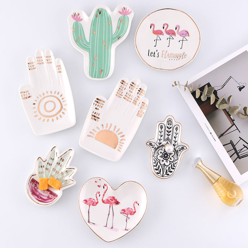 Small Hamsa Sun Hand Flamingo Cactus Pineapple Ceramic Dish Plate Decorative Jewelry Trinket Dish Necklace Storage Vanity Tray