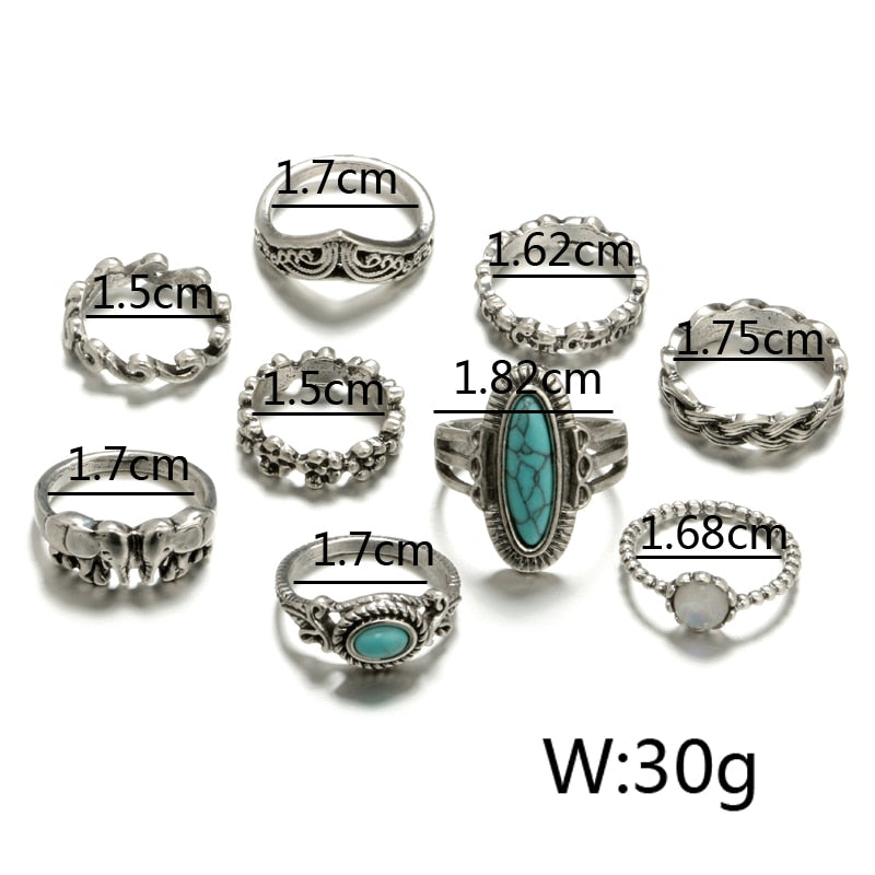 Tocona 9pcs/Set Boho Elephant Flower Wave Carved Knuckle Midi Finger Rings Set for Women Antique Silver Rings Jewelry 3589