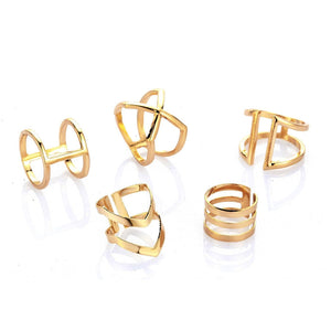 RAVIMOUR Steampunk Boho Knuckles Women Rings Gold Color Geometric Wave Cross Metal Maxi Ring Set Female Jewelry Vintage Ringen