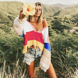 Multi Color Striped Cropped Ripped Loose Sweater