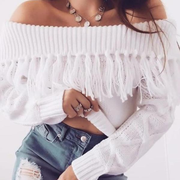 Sexy Off Shoulder Tasseled Sweater - 3 Colors