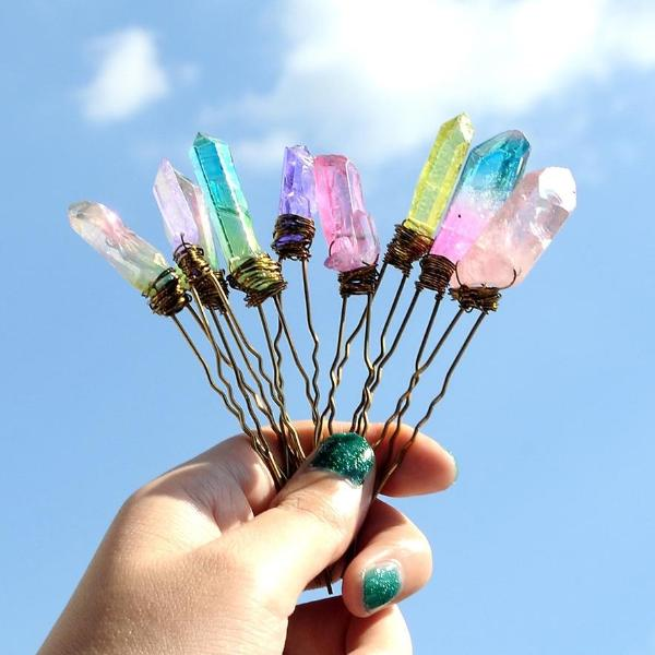 Raw Crystal Hair Pin - 9 Colors