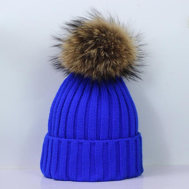 Faux Fur Pom Pom Thick Knit Beanies - 13 Colors