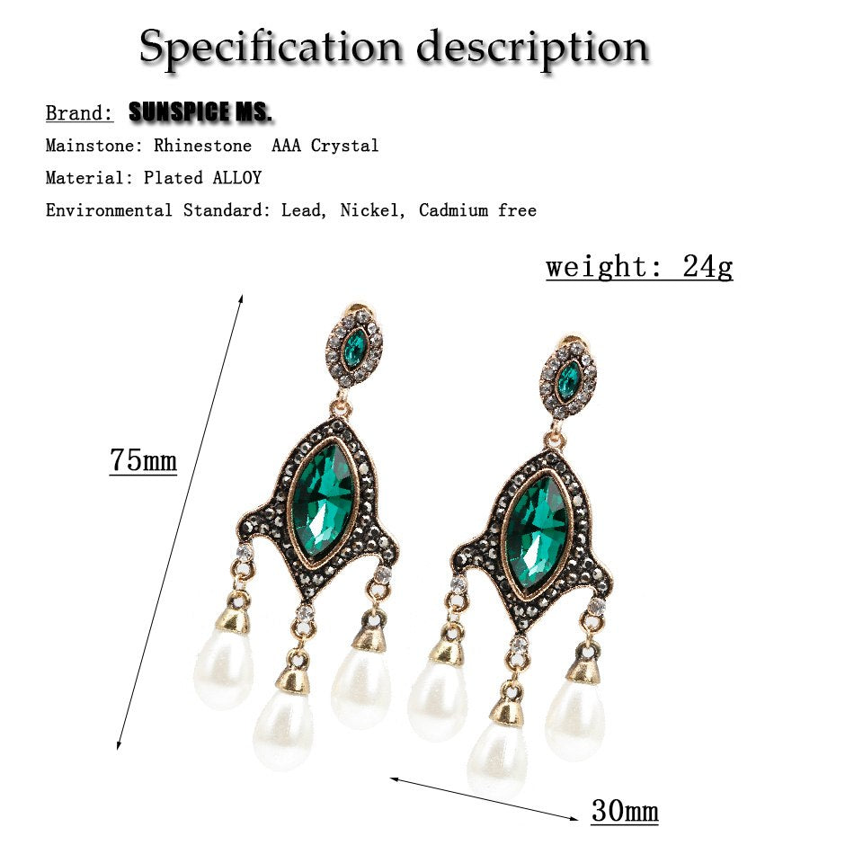Vintage Turkish Simulated Pearl Drop Long Earring Women Antique Chandelier Earrings India Jewelry Ladies Wedding Party Bijoux
