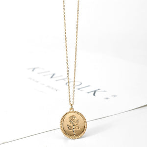 Wild&Free Gold Alloy Round Pendant Necklace for Women Simple Female Long Chain Coin Necklace Rose Flower Collier 2018 Wholesale