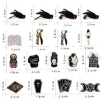 Creative Black Witch Coffin Cards Clothes Tie Brooch Cat Claw Enamel Pin Hands with Rose Dagger Men Jackets Lapel Pins Jewelry