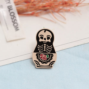 Creative Black Witch Coffin Cards Clothes Tie Brooch Cat