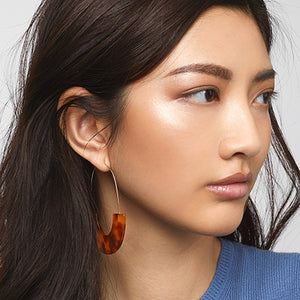 Semicircle Resin Hoop Drop Earrings - 9 Colors