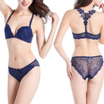 Floral Embroidery & Lace Bra and Panty Set - 5 Colors