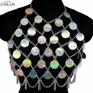 Chran Sequins Crop Top Disco Party Beach Cover Up Chain Necklace Rave Bra Bralette Lingerie Festival Costume Wear Jewelry CRM290