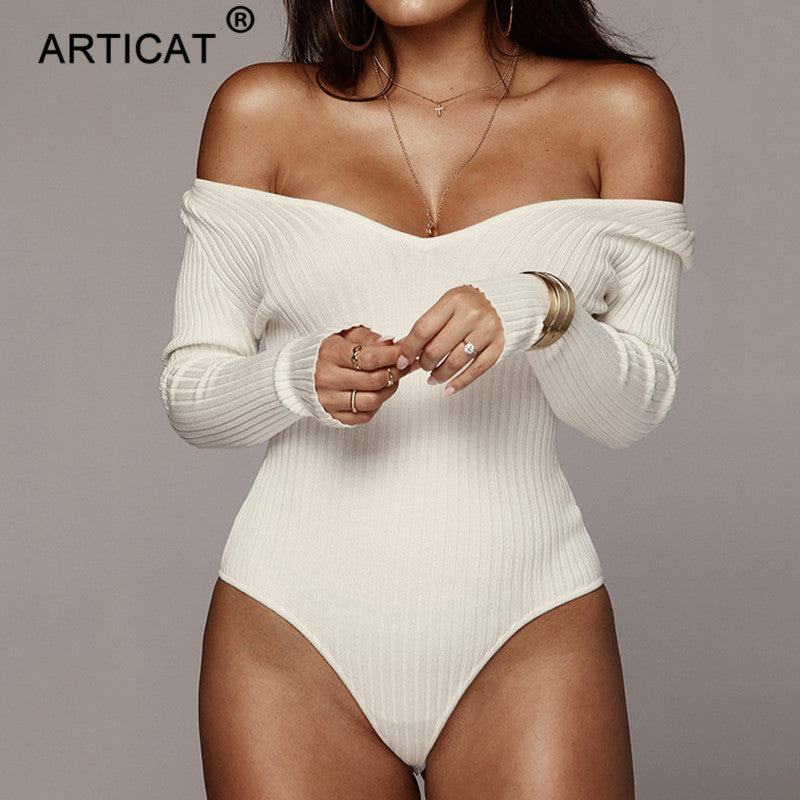 Articat Off Shoulder Ribbed Knitted Sexy Bodysuit Women Black V Neck Autumn Slim Rompers Womens Jumpsuit Winter Basic Bodysuits
