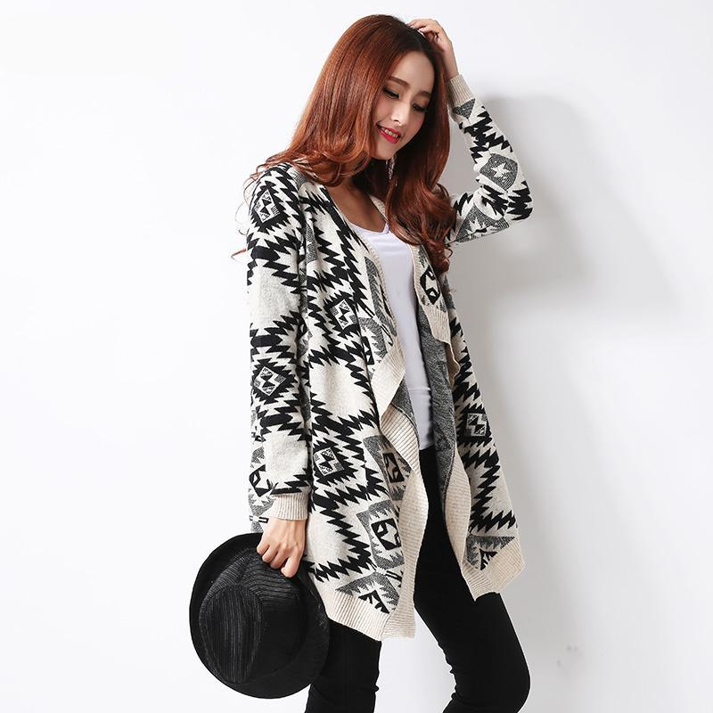 Geometric Tribal Pattern Cardigan Sweater - 2 Colors