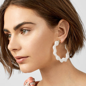 Wavy Resin Hoop Earrings - 3 Colors