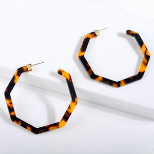 Vintage Leopard Acetate Resin Geometric Large Polygonal Stud Earrings For Women Acrylic Tortoiseshell Pendientes Jewelry Gift
