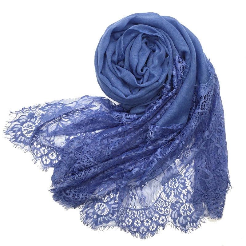Double Side Floral Lace Cotton Shawl - 29 Colors