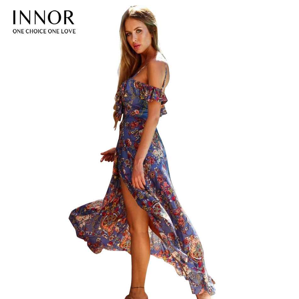 c06858634ee95c Ruffle backless bow print long dress Women v neck tie up summer dress female  Casual beach