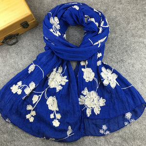 Ethnic Style Embroidered Cotton Scarves and Shawls for Women Fashion Design Muslim Hijab Bandana and Pashmina for Ladies