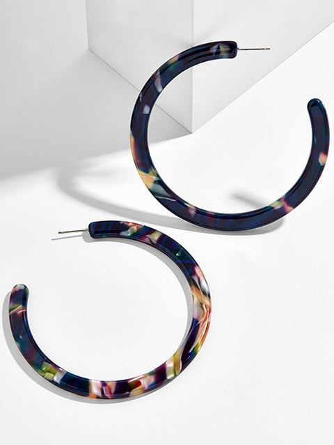 2018 Colorful Acetate Acrylic Circle Hoop Earring For Women Leopard Print Resin Geometric Big Earring Fashion za Jewelry Gift
