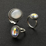 Iridescent Faux Opal Oval 3 Piece Ring Set