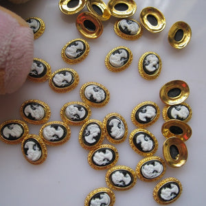 MD-442 10pcs Fancy Cameo Gold Deco Metal Charms Metal Deco Charms Nail Art