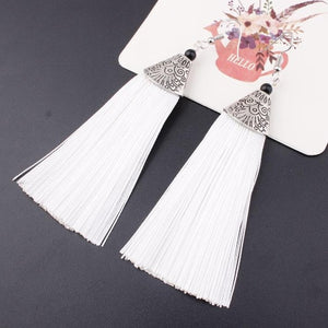 2018 New Hot Bohemia Long Tassel Earrings for Women European Exaggerated Boho Vintage Drop Earrings 9 Colors, 1 Pair