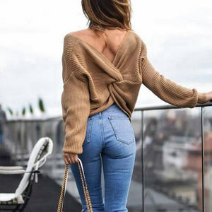 Wipalo 4 colors V Neck Twisted Back Sweater Women Jumpers Autumn Pullovers Casual Tops Long Sleeve Knitted Sweaters pull femme