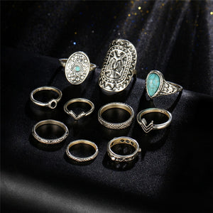 IF ME Vintage Flower Owl Elephant Leaf Ring for Women Bohemian Boho Retro Crystal Silver Color Finger Knuckle Rings Set Jewelry
