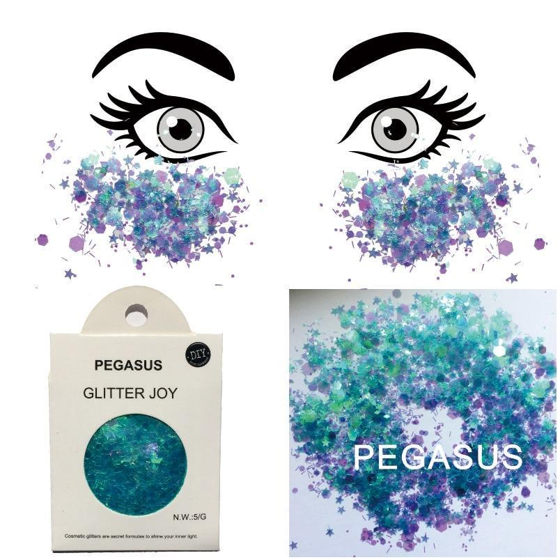 "Festival Glitter - ""Pegasus"" - Iridescent Turquoise & Purple Mixed Shapes"