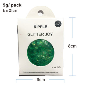 "Festival Glitter - ""Ripple"" - Iridescent Green Hexagons"
