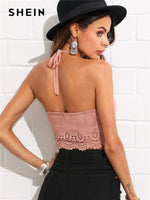SHEIN Scallop Laser Suede Halter Top Pink Cut Out Backless Women Plain Vest 2018 Summer New Female Sexy Party Crop Top Vest