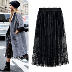 Lacy Pleated Mid-Calf Skirt - 2 Colors