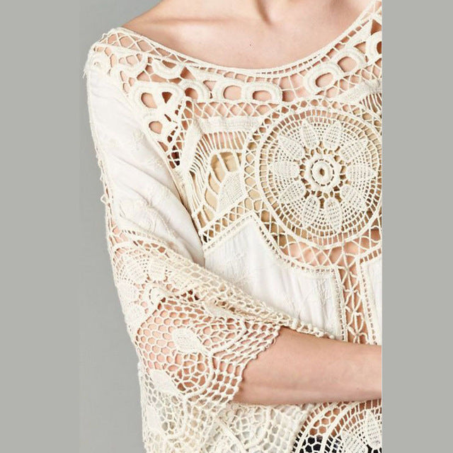 2018 Spring Summer Lace Womens Tops and Blouses Sun Protection Shirts Perspective Embroidery Blusa Renda White Camisa Feminina