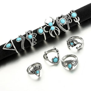 Vintage Style Boho Silver & Turquoise Color 11 Piece Ring Set