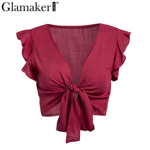 Glamaker Ruffle bow v neck plus size women camisole tank top Pink bandage summer crop top Female green fitness casual top tee