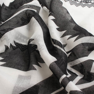 Black & White Geometric Scarf with Tassels