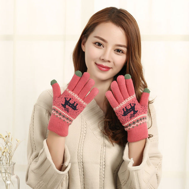 Vintage Christmas Deer Knitted Gloves Women Thicken Touch Screen Gloves Winter Warm Snow Elk Full Finger Mittens Xmas Gift Luvas