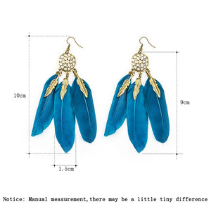 MISANANRYNE Dream Catcher Hollow out Vintage Leaf Feather Dangle Earrings For Women Bohemia Earring Lady's Ethnic Indian Jewelry