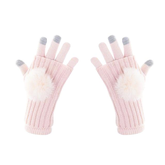 Winter Pom Pom Knit Touch Screen Gloves - 6 ColorsEvrfelan New Winter Gloves Women Touch Screen Mittens Female Fashion Keep Warm Full-Finger Gloves Outdoor Accessories